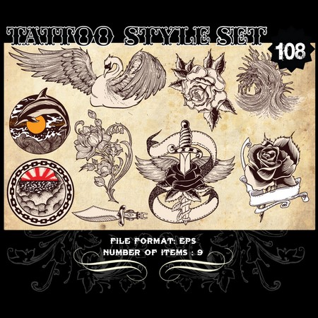 Tattoo Style Vector Set 108 Vector graphics