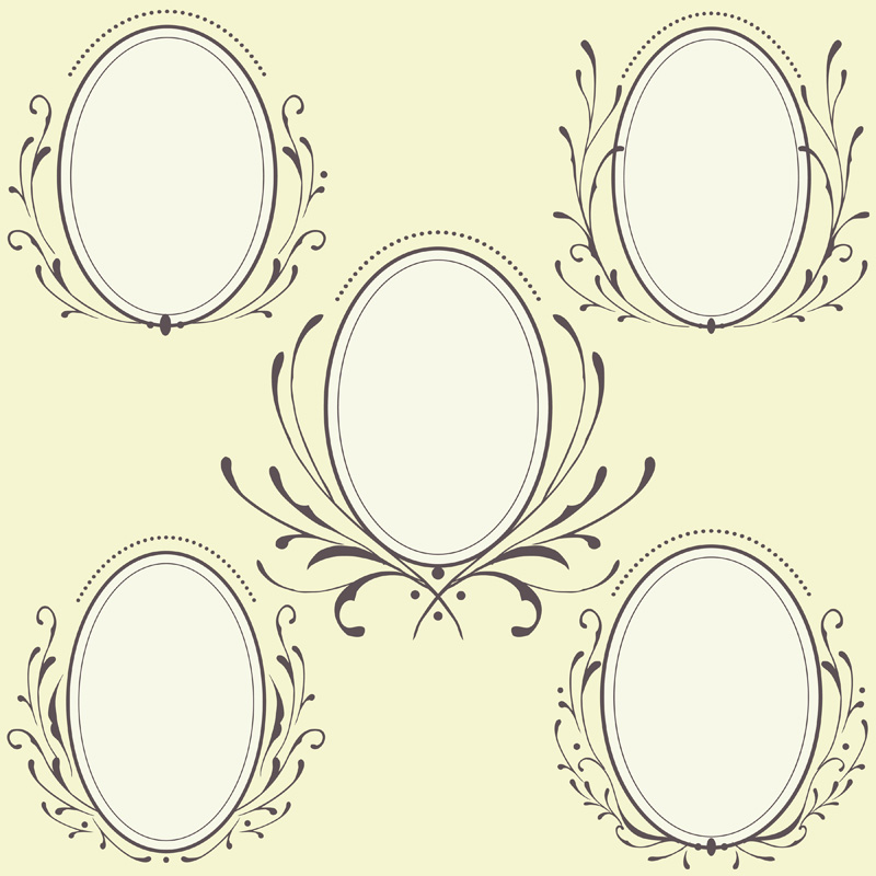 Oval Floral frames ornament Vector art