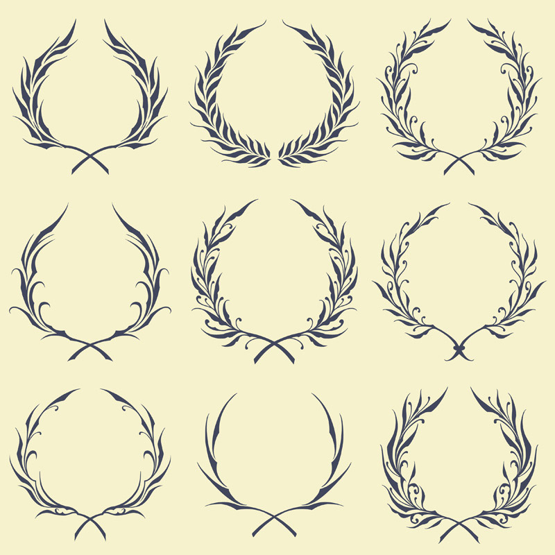Floral Wreath Ornaments Vector art
