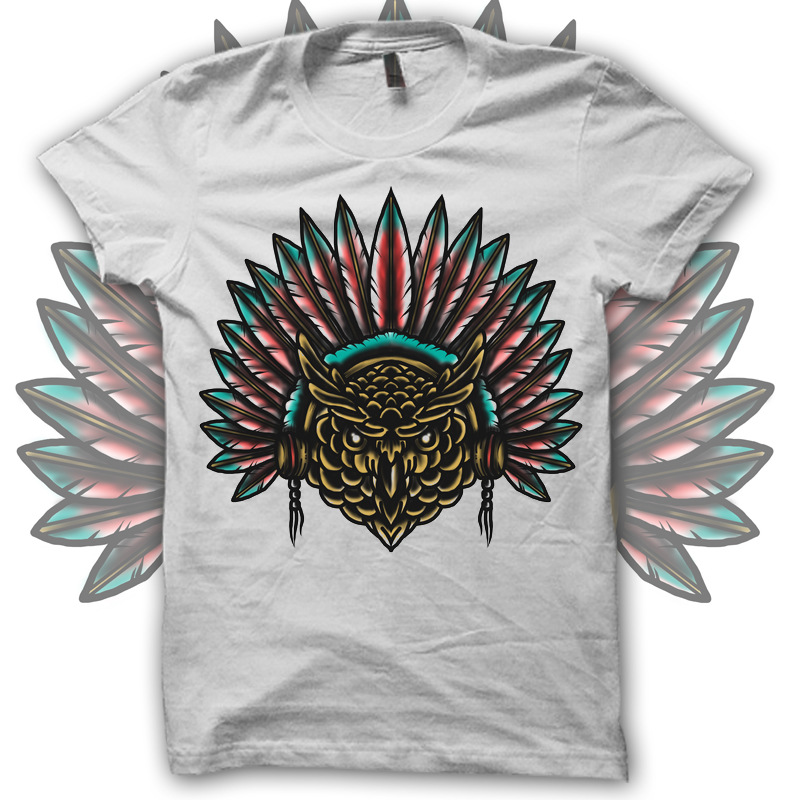 OWL TATTO T-shirt template