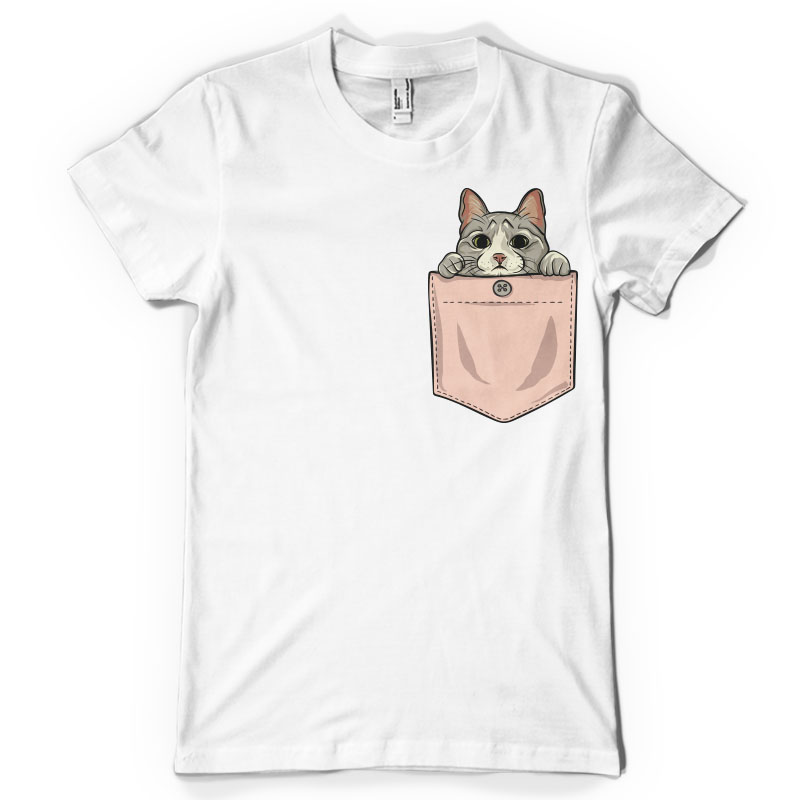 cat in pocket shirt t shirts design concept